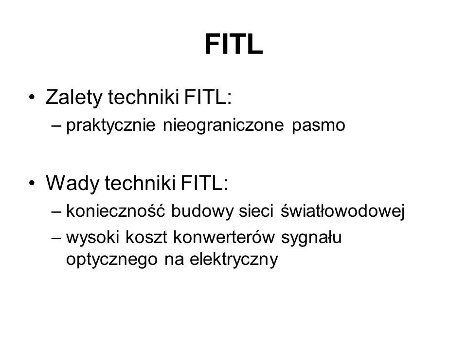 FITL Zalety techniki FITL: –praktycznie nieograniczone pasmo Wady techniki FITL: –konieczność budowy sieci światłowodowej –wysoki koszt konwerterów sy