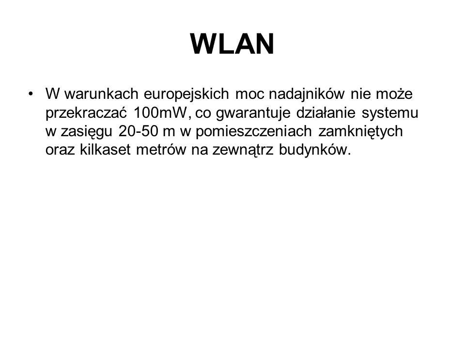 WLAN W warunkach europejskich moc nadajników nie może przekraczać 100mW, co gwarantuje działanie systemu w zasięgu 20-50 m w pomieszczeniach zamknięty
