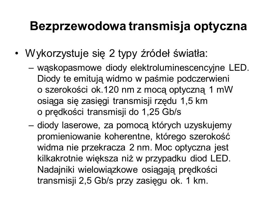 Bezprzewodowa transmisja optyczna Wykorzystuje się 2 typy źródeł światła: –wąskopasmowe diody elektroluminescencyjne LED. Diody te emitują widmo w paś