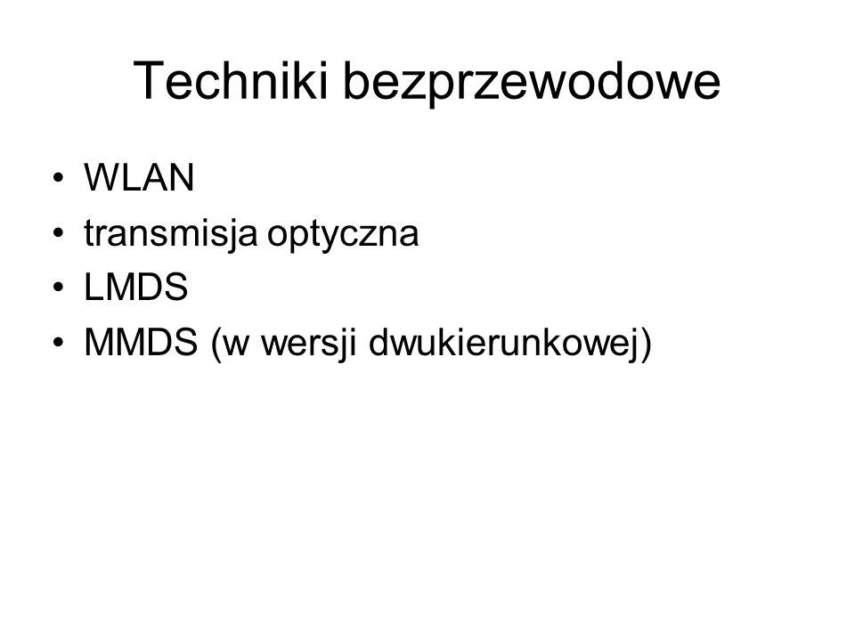 Techniki bezprzewodowe WLAN transmisja optyczna LMDS MMDS (w wersji dwukierunkowej)