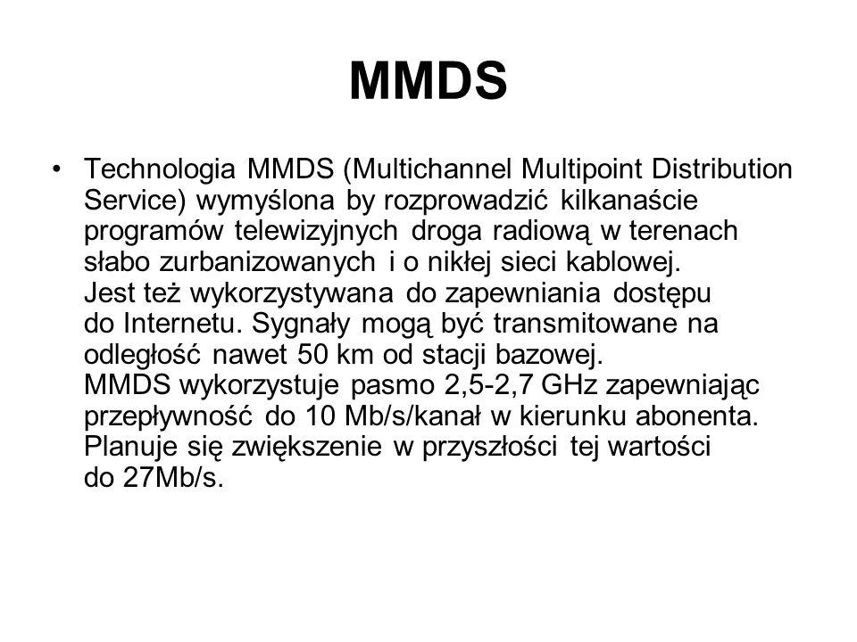 MMDS Technologia MMDS (Multichannel Multipoint Distribution Service) wymyślona by rozprowadzić kilkanaście programów telewizyjnych droga radiową w ter