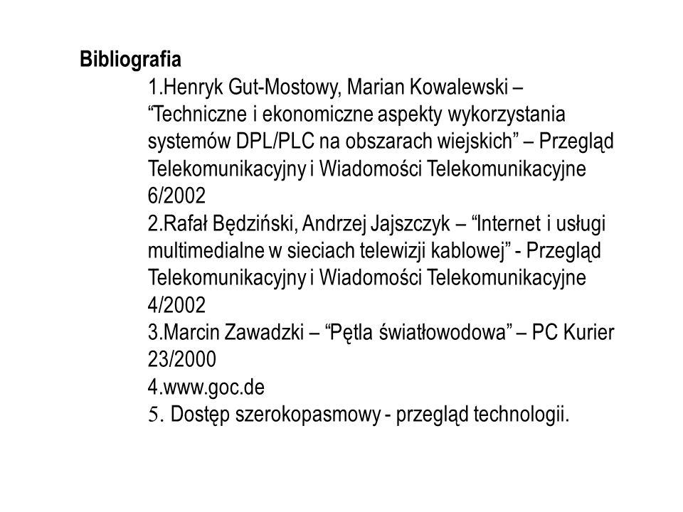 Bibliografia 1.Henryk Gut-Mostowy, Marian Kowalewski – Techniczne i ekonomiczne aspekty wykorzystania systemów DPL/PLC na obszarach wiejskich – Przegl