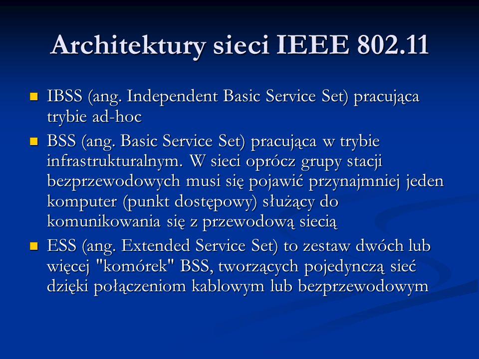 Architektury sieci IEEE 802.11 IBSS (ang. Independent Basic Service Set) pracująca trybie ad-hoc IBSS (ang. Independent Basic Service Set) pracująca t