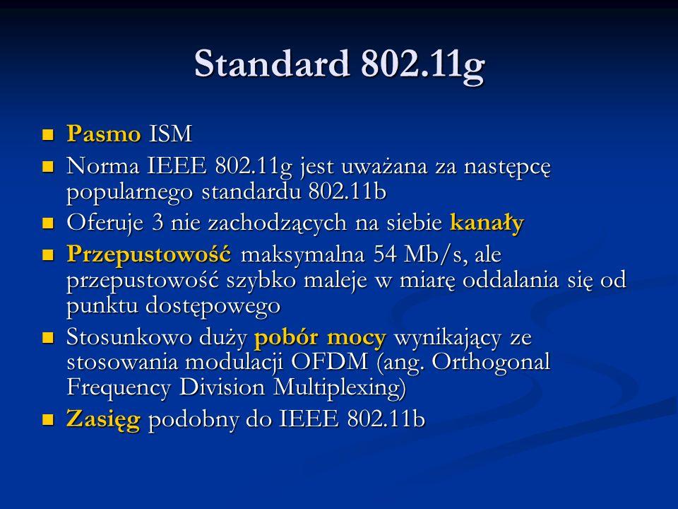 Standard 802.11g Pasmo ISM Pasmo ISM Norma IEEE 802.11g jest uważana za następcę popularnego standardu 802.11b Norma IEEE 802.11g jest uważana za nast
