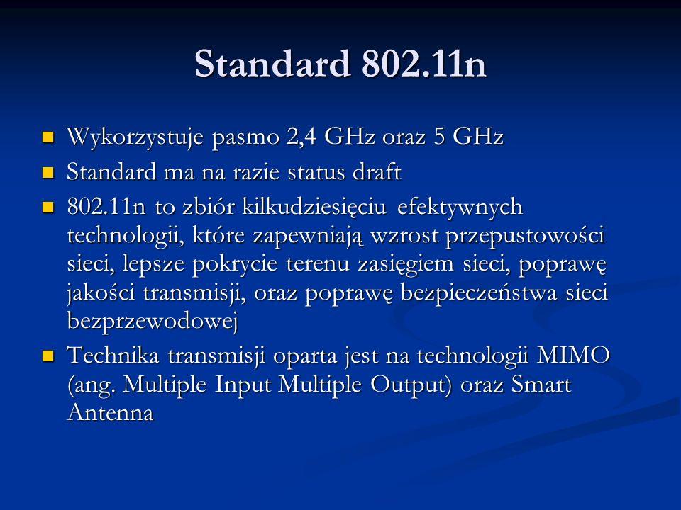 Standard 802.11n Wykorzystuje pasmo 2,4 GHz oraz 5 GHz Wykorzystuje pasmo 2,4 GHz oraz 5 GHz Standard ma na razie status draft Standard ma na razie st