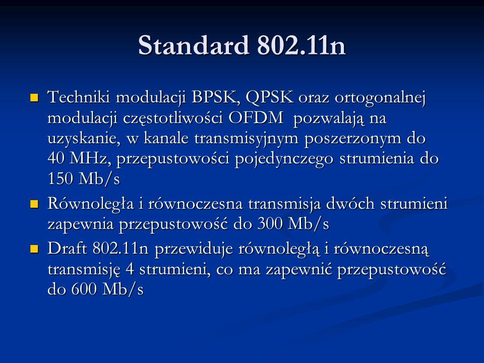 Standard 802.11n Techniki modulacji BPSK, QPSK oraz ortogonalnej modulacji częstotliwości OFDM pozwalają na uzyskanie, w kanale transmisyjnym poszerzo