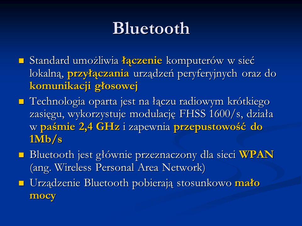 Bluetooth Standard umożliwia łączenie komputerów w sieć lokalną, przyłączania urządzeń peryferyjnych oraz do komunikacji głosowej Standard umożliwia ł