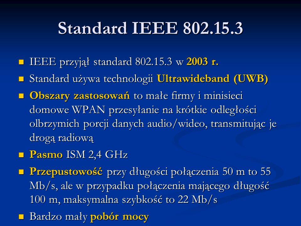Standard IEEE 802.15.3 IEEE przyjął standard 802.15.3 w 2003 r. IEEE przyjął standard 802.15.3 w 2003 r. Standard używa technologii Ultrawideband (UWB