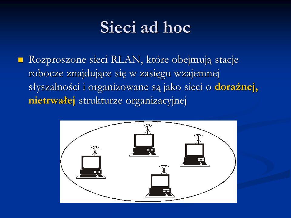 Sieci ad hoc Rozproszone sieci RLAN, które obejmują stacje robocze znajdujące się w zasięgu wzajemnej słyszalności i organizowane są jako sieci o dora