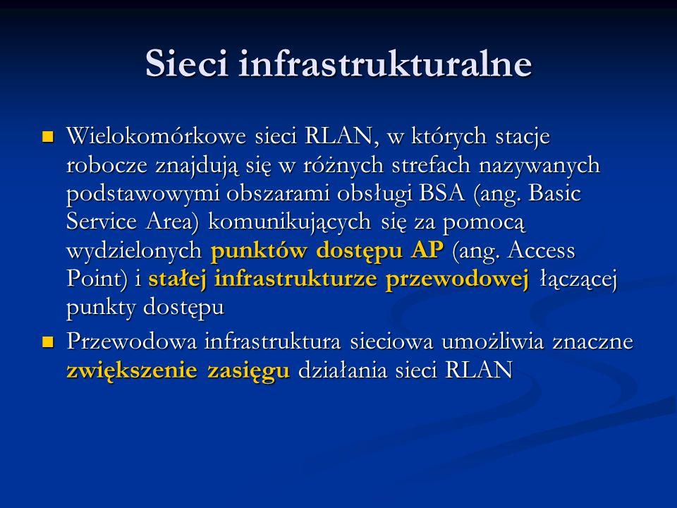 Sieci infrastrukturalne Wielokomórkowe sieci RLAN, w których stacje robocze znajdują się w różnych strefach nazywanych podstawowymi obszarami obsługi