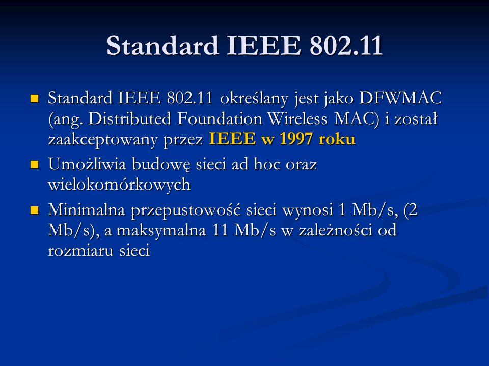 Warstwa fizyczna IEEE 802.11 Sieć IEEE 802.11 wykorzystuje nie wymagający koncesji obszar ISM w paśmie 2,4 GHz (od 2400 do 2485 MHz) Sieć IEEE 802.11 wykorzystuje nie wymagający koncesji obszar ISM w paśmie 2,4 GHz (od 2400 do 2485 MHz) Na wspólnej warstwie MAC bazują trzy różne fizyczne warianty sieci (PHY) Na wspólnej warstwie MAC bazują trzy różne fizyczne warianty sieci (PHY) Sieć pracująca w podczerwieni korzysta z fal o długości od 850 do 950 nanometrów, maksymalny zasięg takiej instalacji nie przekroczy jednak kilkunastu metrów.
