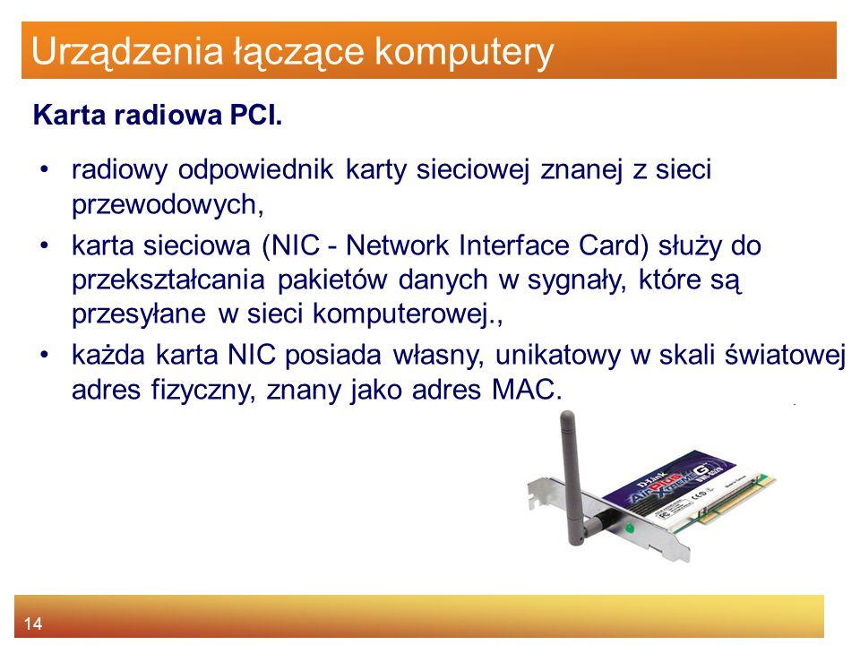 14 Urządzenia łączące komputery radiowy odpowiednik karty sieciowej znanej z sieci przewodowych, karta sieciowa (NIC - Network Interface Card) służy d