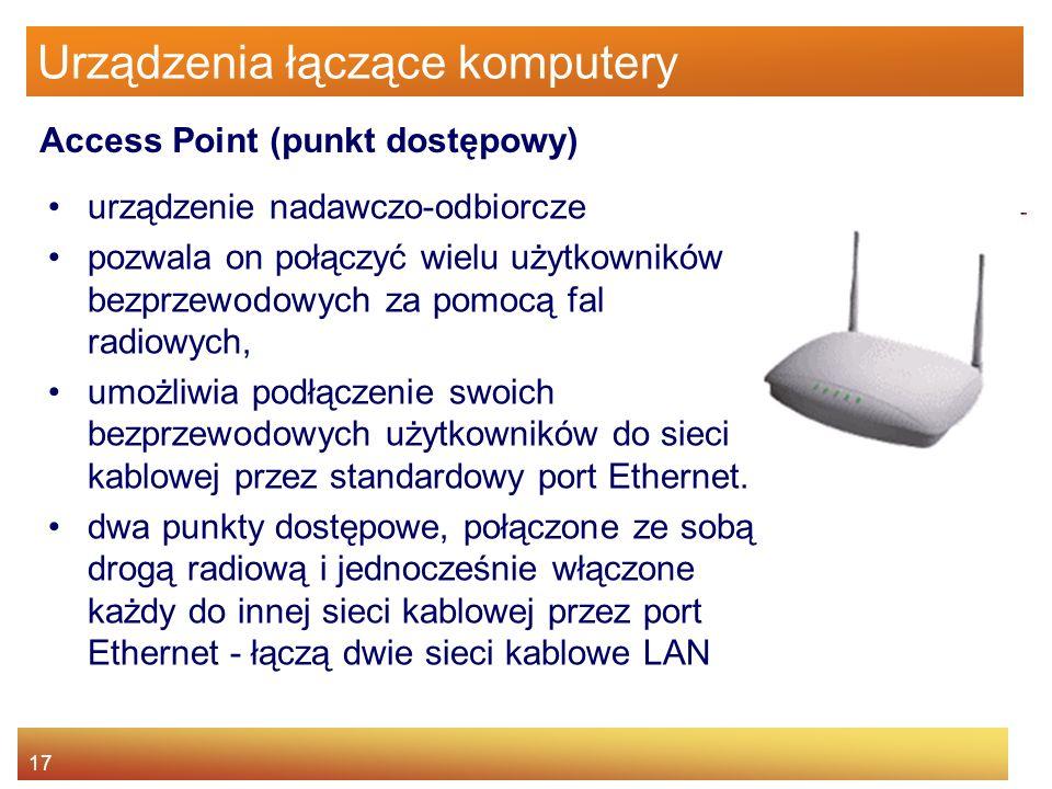 17 Urządzenia łączące komputery urządzenie nadawczo-odbiorcze pozwala on połączyć wielu użytkowników bezprzewodowych za pomocą fal radiowych, umożliwi