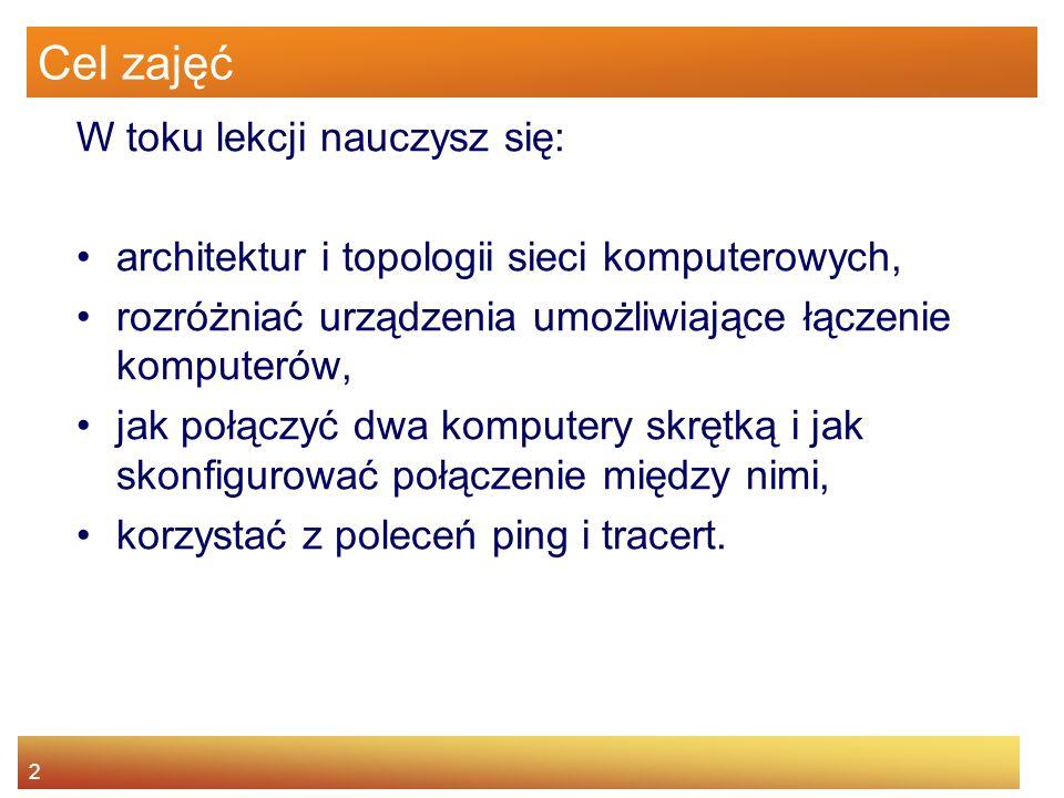2 Cel zajęć W toku lekcji nauczysz się: architektur i topologii sieci komputerowych, rozróżniać urządzenia umożliwiające łączenie komputerów, jak połą