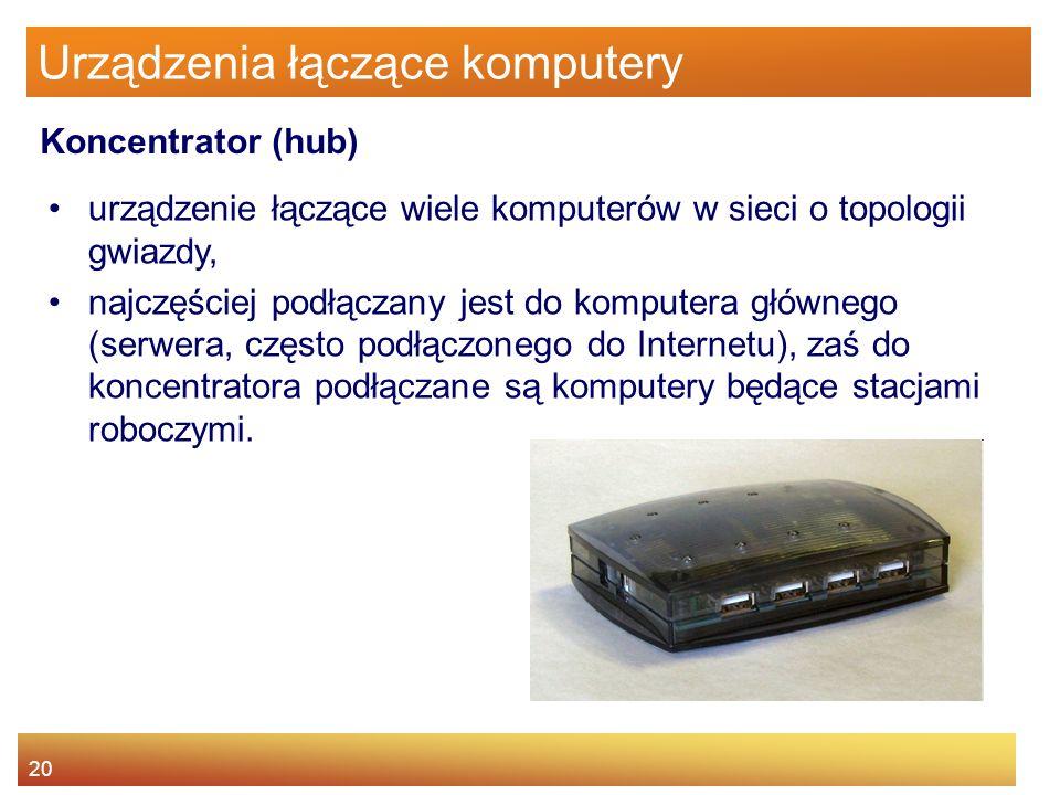 20 Urządzenia łączące komputery urządzenie łączące wiele komputerów w sieci o topologii gwiazdy, najczęściej podłączany jest do komputera głównego (se