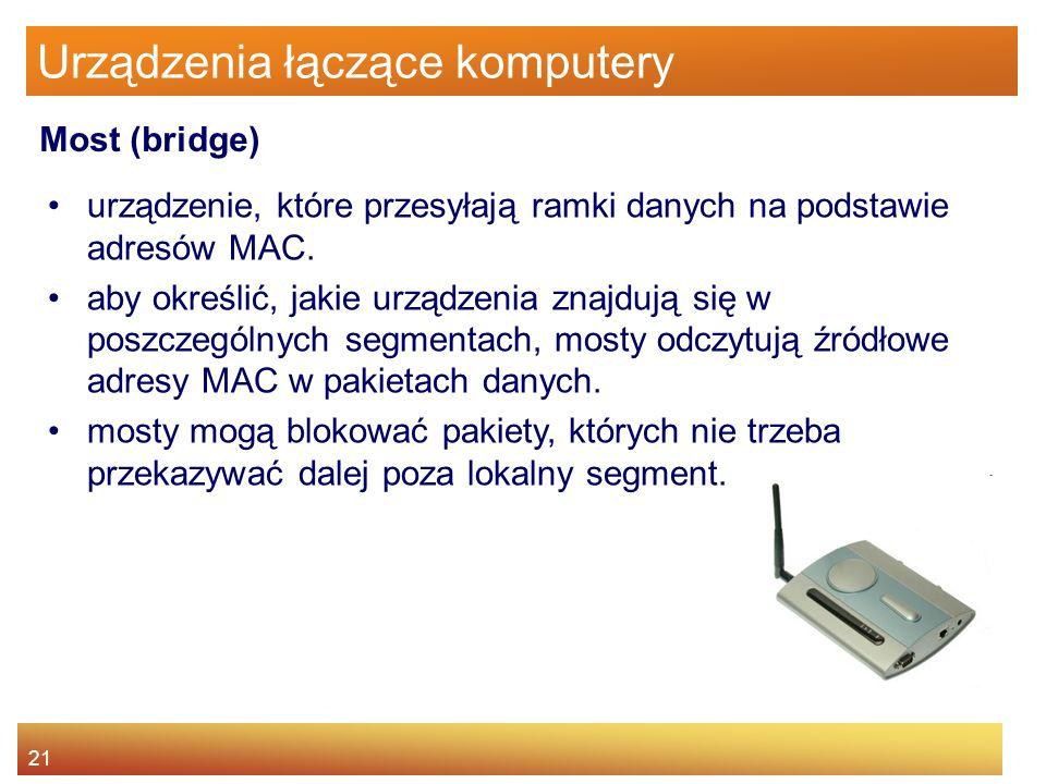 21 Urządzenia łączące komputery urządzenie, które przesyłają ramki danych na podstawie adresów MAC. aby określić, jakie urządzenia znajdują się w posz