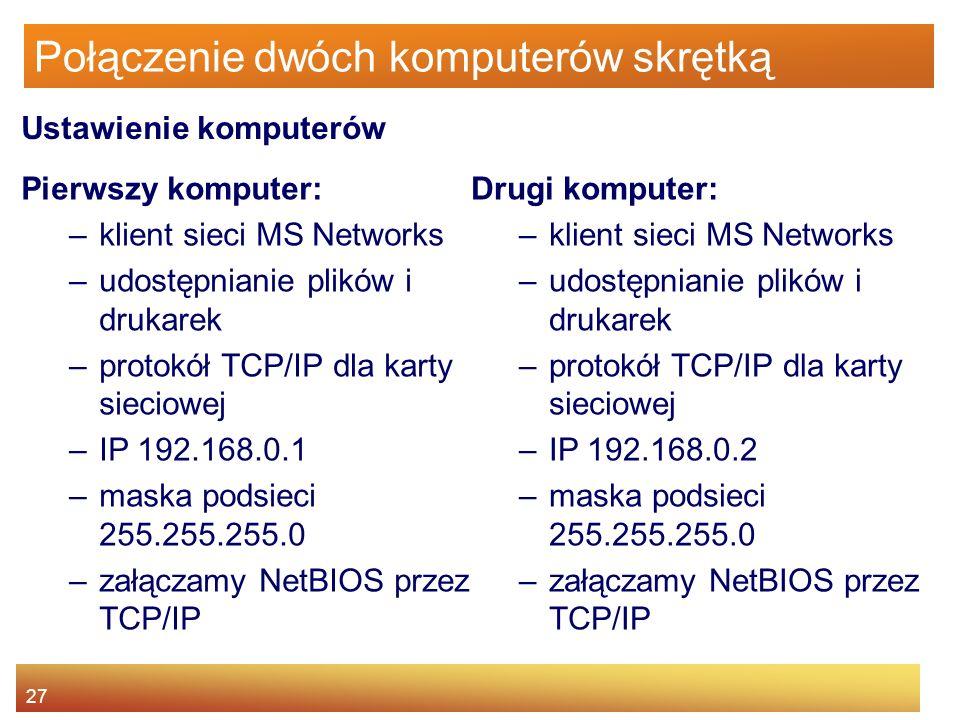 27 Połączenie dwóch komputerów skrętką Pierwszy komputer: –klient sieci MS Networks –udostępnianie plików i drukarek –protokół TCP/IP dla karty siecio