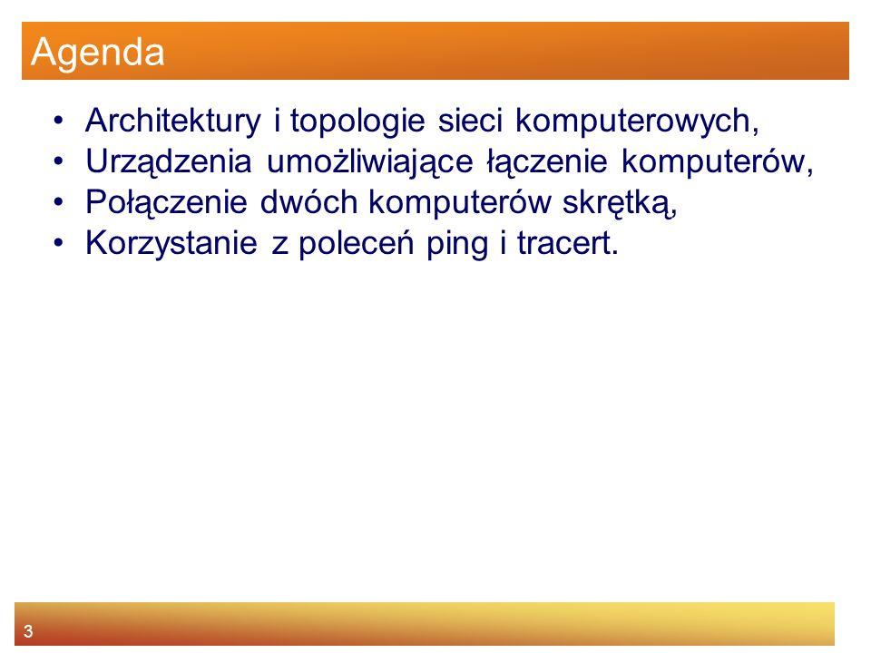 3 Agenda Architektury i topologie sieci komputerowych, Urządzenia umożliwiające łączenie komputerów, Połączenie dwóch komputerów skrętką, Korzystanie