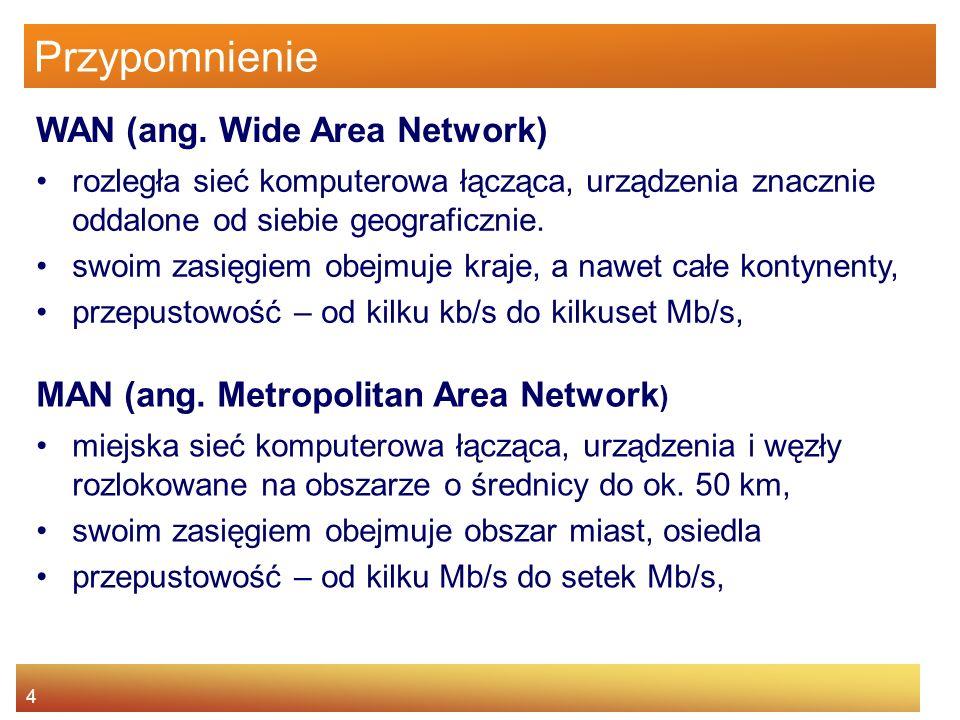 4 Przypomnienie rozległa sieć komputerowa łącząca, urządzenia znacznie oddalone od siebie geograficznie. swoim zasięgiem obejmuje kraje, a nawet całe