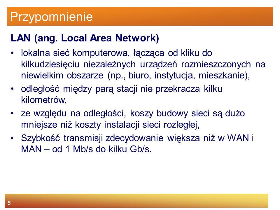 5 Przypomnienie lokalna sieć komputerowa, łącząca od kliku do kilkudziesięciu niezależnych urządzeń rozmieszczonych na niewielkim obszarze (np., biuro