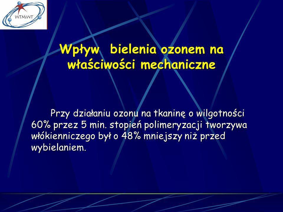 Wpływ bielenia ozonem na właściwości mechaniczne Przy działaniu ozonu na tkaninę o wilgotności 60% przez 5 min. stopień polimeryzacji tworzywa włókien