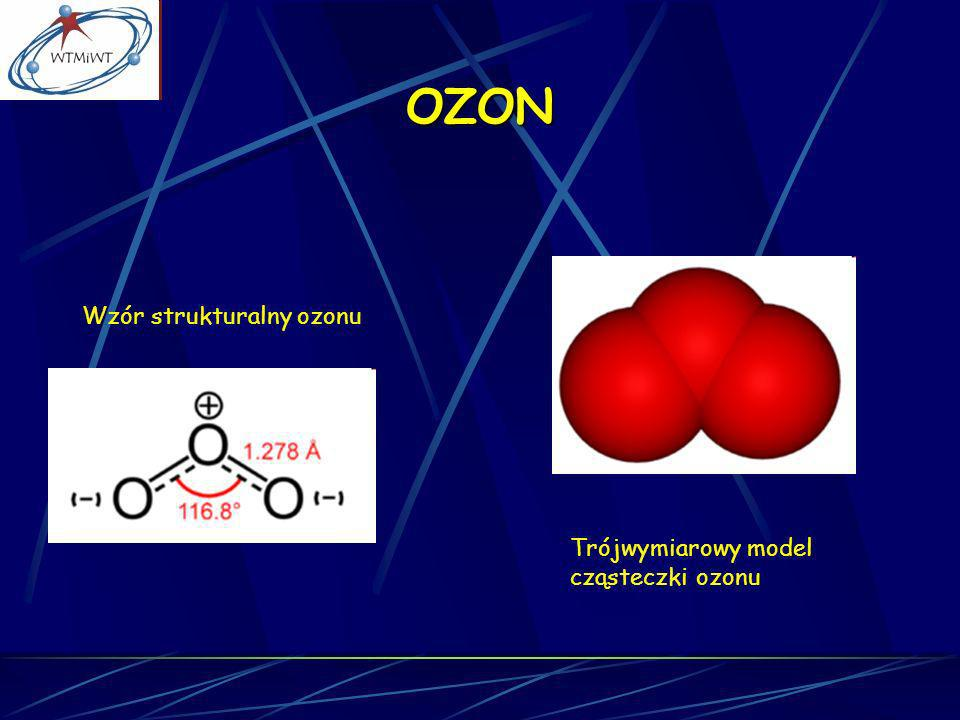 OZON Trójwymiarowy model cząsteczki ozonu Wzór strukturalny ozonu