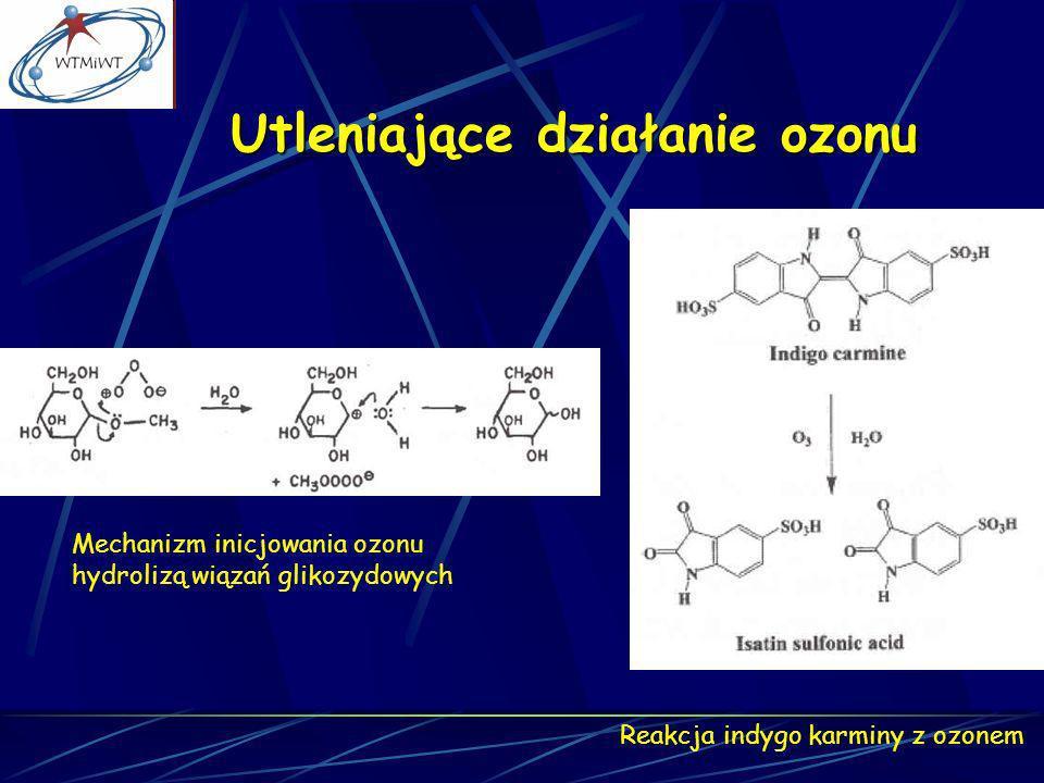 Utleniające działanie ozonu Mechanizm inicjowania ozonu hydrolizą wiązań glikozydowych Reakcja indygo karminy z ozonem