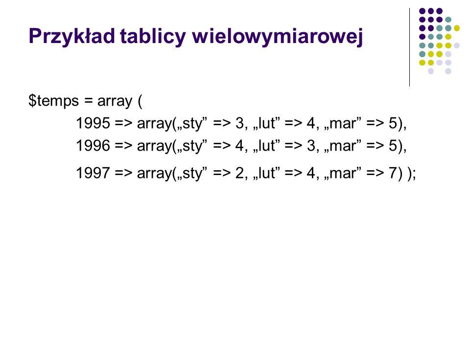 Przykład tablicy wielowymiarowej $temps = array ( 1995 => array(sty => 3, lut => 4, mar => 5), 1996 => array(sty => 4, lut => 3, mar => 5), 1997 => ar