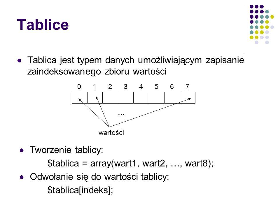 Tablice Tablica jest typem danych umożliwiającym zapisanie zaindeksowanego zbioru wartości 56071234 … wartości Tworzenie tablicy: $tablica = array(war