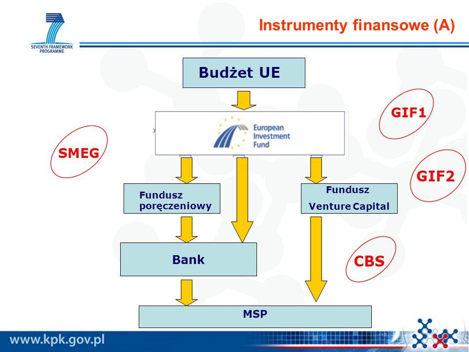 Instrumenty finansowe (A) Budżet UE Fundusz poręczeniowy Bank MSP Fundusz Venture Capital GIF1 GIF2 SMEG CBS