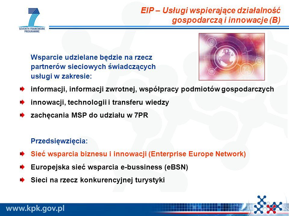 EIP – Usługi wspierające działalność gospodarczą i innowacje (B) Wsparcie udzielane będzie na rzecz partnerów sieciowych świadczących usługi w zakresi