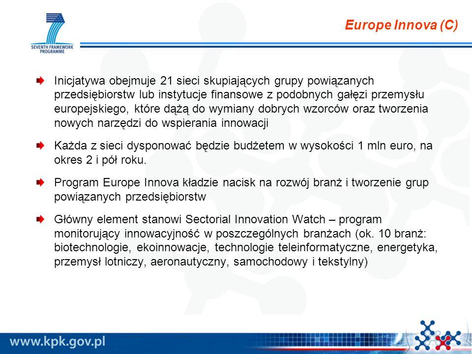 Europe Innova (C) Inicjatywa obejmuje 21 sieci skupiających grupy powiązanych przedsiębiorstw lub instytucje finansowe z podobnych gałęzi przemysłu eu