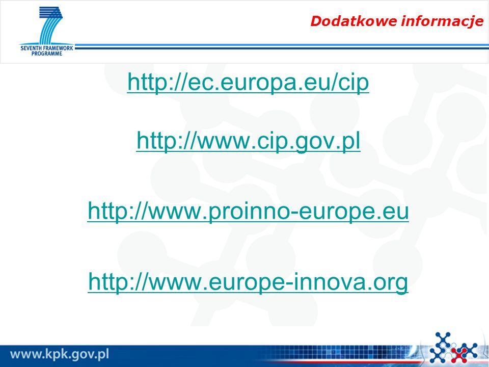 Dodatkowe informacje http://ec.europa.eu/cip http://www.cip.gov.pl http://www.proinno-europe.eu http://www.europe-innova.org