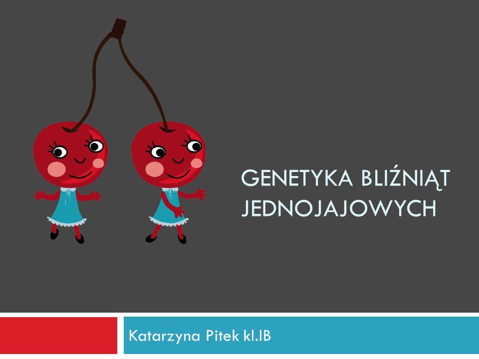 GENETYKA BLIŹNIĄT JEDNOJAJOWYCH Katarzyna Pitek kl.IB