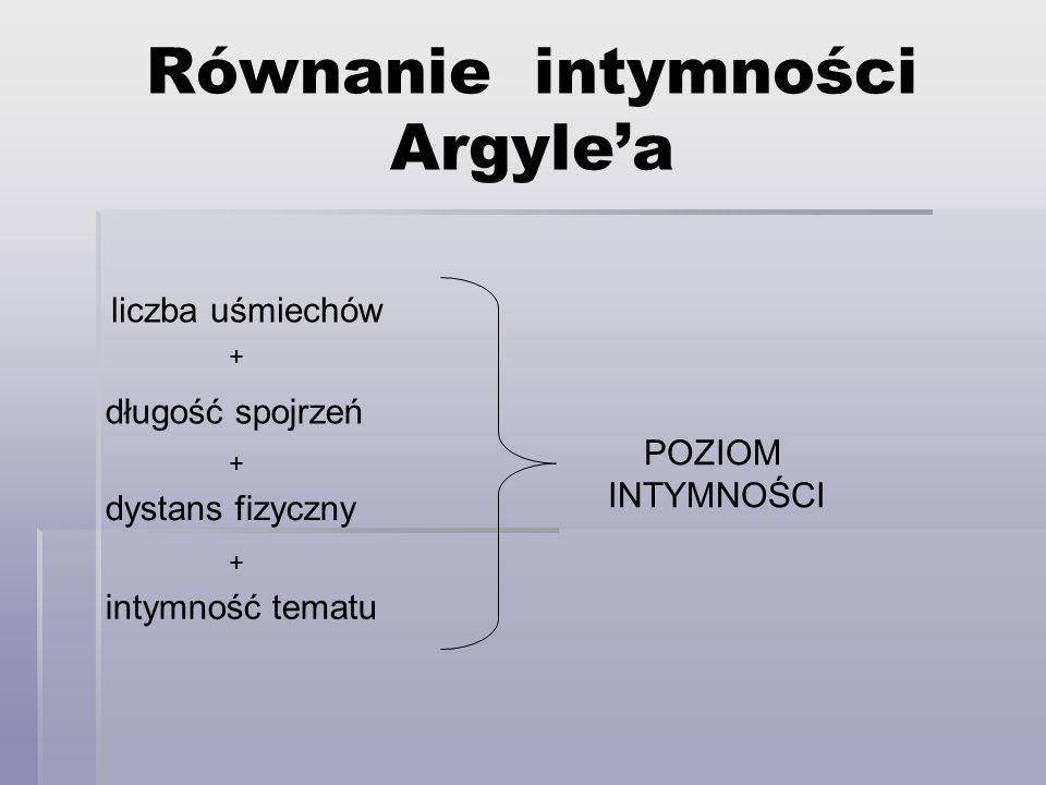 Równanie intymności Argylea liczba uśmiechów długość spojrzeń dystans fizyczny intymność tematu POZIOM INTYMNOŚCI + + +