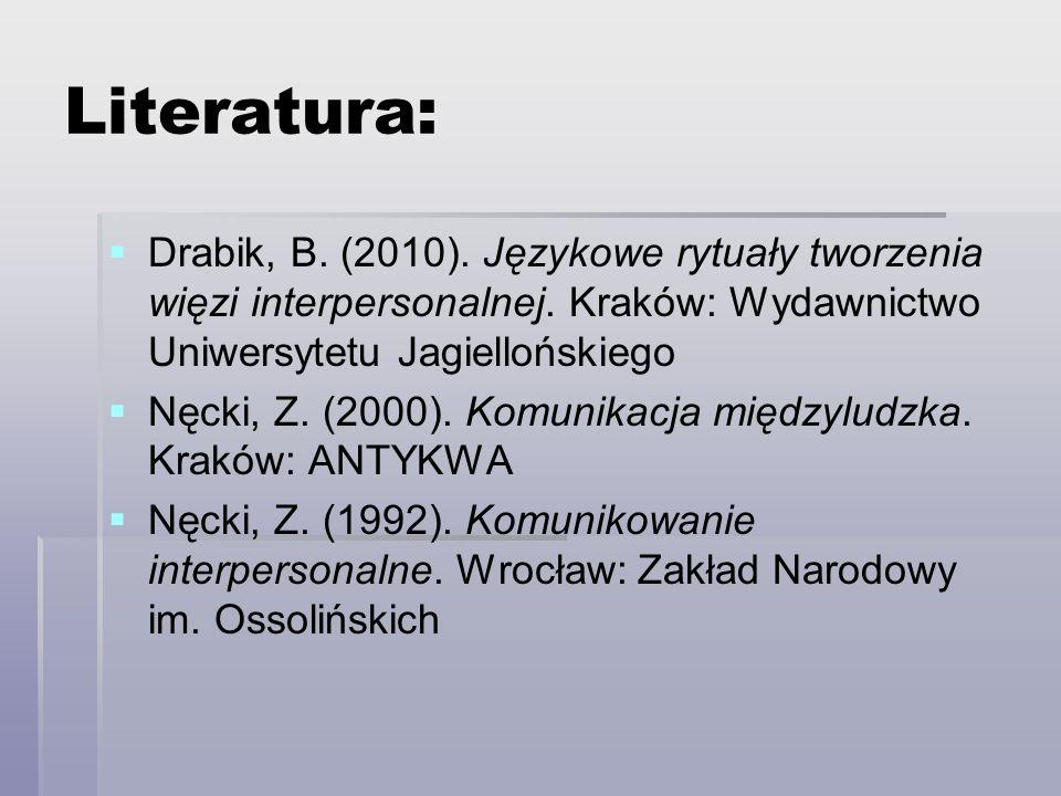 Literatura: Drabik, B. (2010). Językowe rytuały tworzenia więzi interpersonalnej. Kraków: Wydawnictwo Uniwersytetu Jagiellońskiego Nęcki, Z. (2000). K