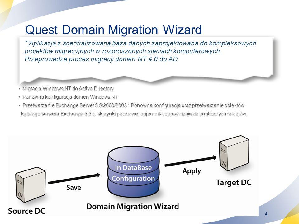5 Quest Migration Manager for Active Directory Migration Manager for Active Directory upraszcza migrację z AD do AD i ułatwia dokonywanie zmian w strukturach Active Directory.
