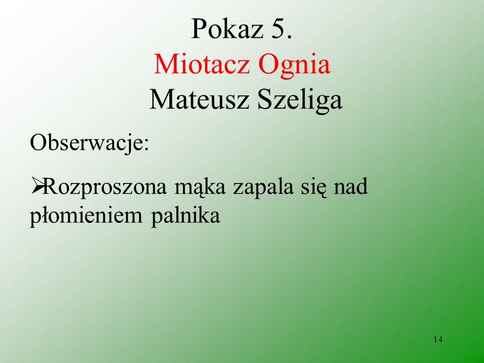 13 Pokaz 5. Miotacz Ognia Mateusz Szeliga Odczynniki: Mąka pszenna Propan Butan Zapałki