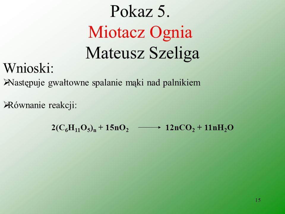 14 Pokaz 5. Miotacz Ognia Mateusz Szeliga Obserwacje: Rozproszona mąka zapala się nad płomieniem palnika