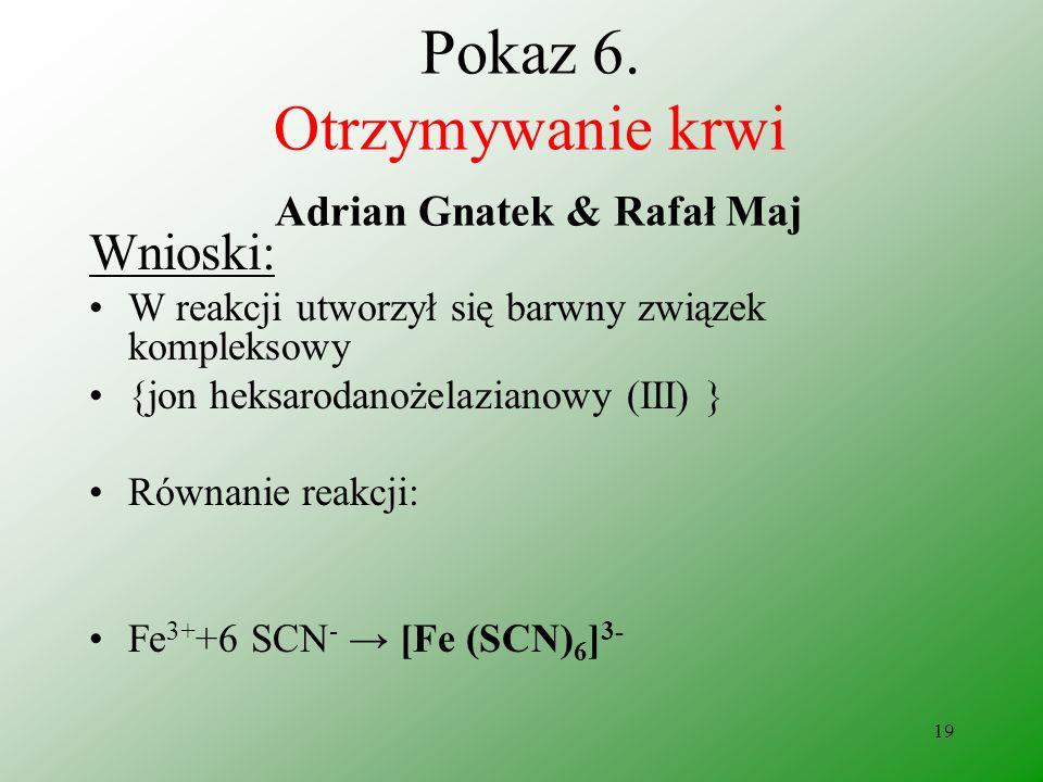 18 Pokaz 6. Otrzymywanie krwi Adrian Gnatek & Rafał Maj Obserwacje: Otrzymano ciecz o krwistej barwie.