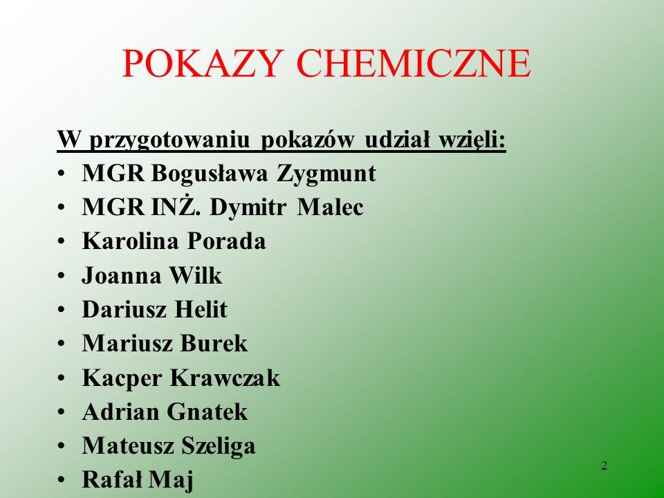 2 POKAZY CHEMICZNE W przygotowaniu pokazów udział wzięli: MGR Bogusława Zygmunt MGR INŻ.