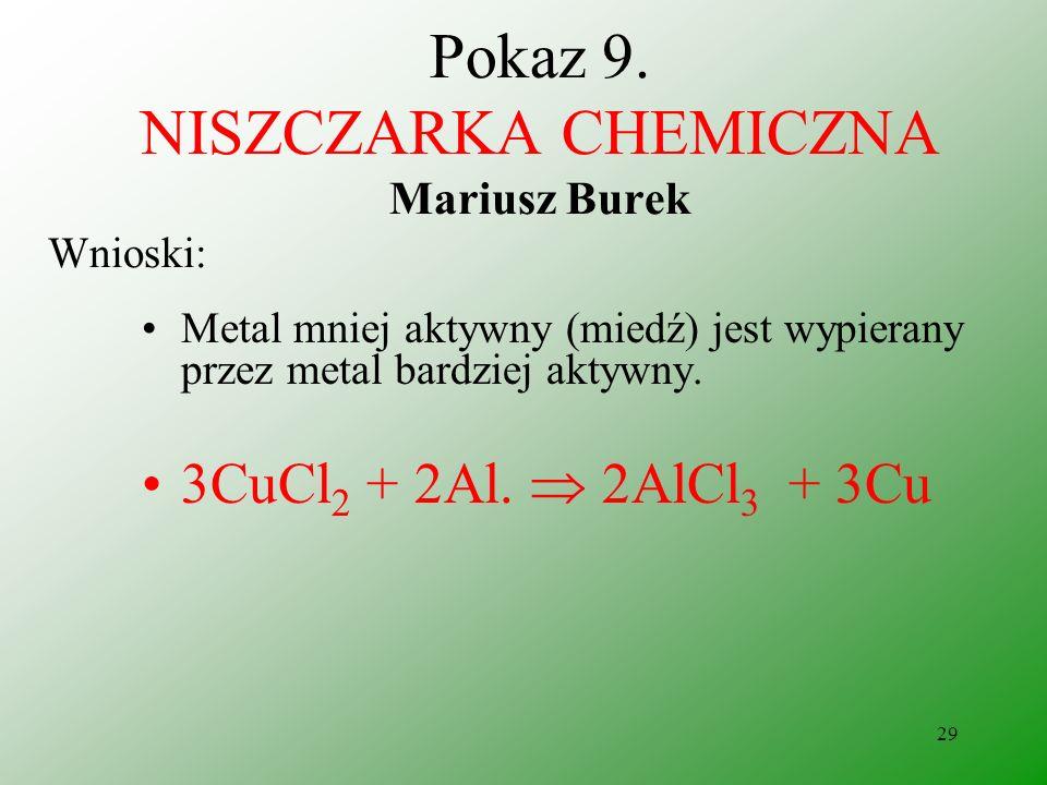 28 Pokaz 9. NISZCZARKA CHEMICZNA Mariusz Burek Obserwacje: Folia aluminiowa znikła