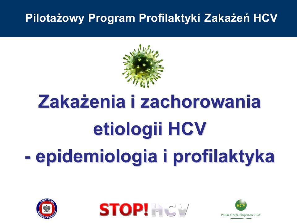 Pilotażowy Program Profilaktyki Zakażeń HCV Zakażenia i zachorowania etiologii HCV - epidemiologia i profilaktyka
