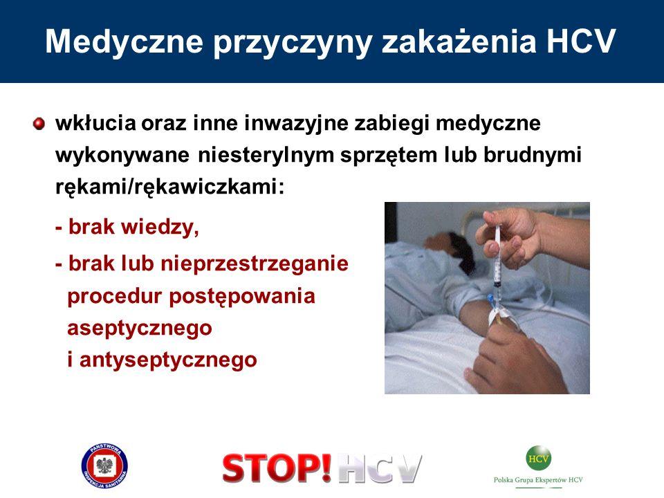 wkłucia oraz inne inwazyjne zabiegi medyczne wykonywane niesterylnym sprzętem lub brudnymi rękami/rękawiczkami: - brak wiedzy, - brak lub nieprzestrze
