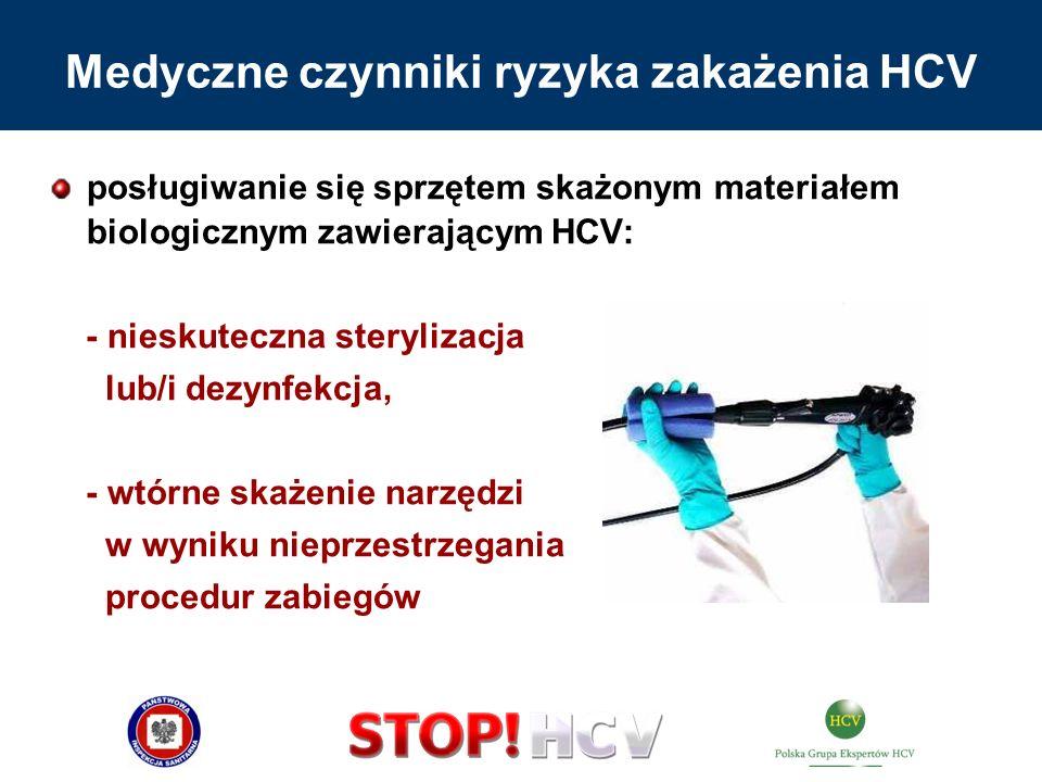 posługiwanie się sprzętem skażonym materiałem biologicznym zawierającym HCV: - nieskuteczna sterylizacja lub/i dezynfekcja, - wtórne skażenie narzędzi