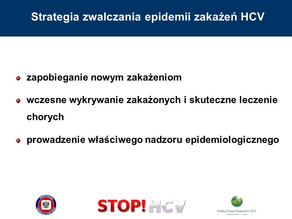 zapobieganie nowym zakażeniom wczesne wykrywanie zakażonych i skuteczne leczenie chorych prowadzenie właściwego nadzoru epidemiologicznego Strategia z