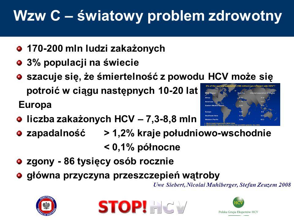 Wzw C – światowy problem zdrowotny 170-200 mln ludzi zakażonych 3% populacji na świecie szacuje się, że śmiertelność z powodu HCV może się potroić w c