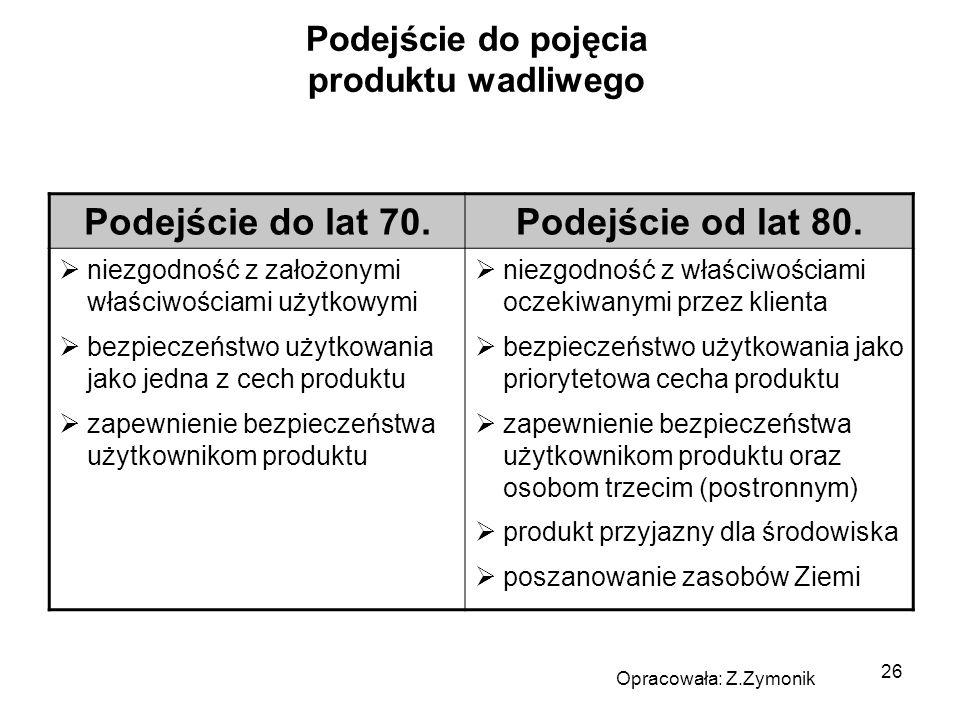 26 Podejście do pojęcia produktu wadliwego Podejście do lat 70.Podejście od lat 80. niezgodność z założonymi właściwościami użytkowymi bezpieczeństwo