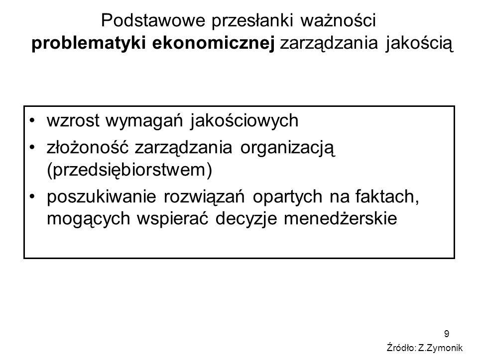 9 Podstawowe przesłanki ważności problematyki ekonomicznej zarządzania jakością wzrost wymagań jakościowych złożoność zarządzania organizacją (przedsi