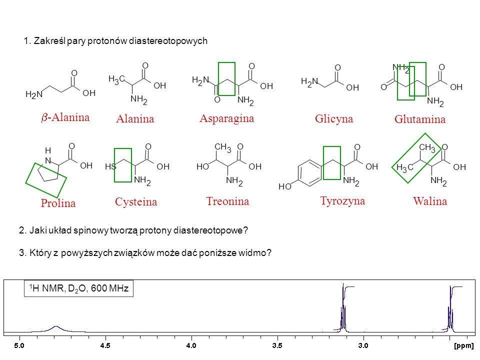 1 H NMR, D 2 O, 600 MHz HDO Asparagina O O NH 2 NH 2 OH Gdzie są grupy COOH i NH 2 ?